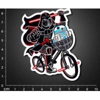 Наклейка Дарт Вейдер с мечом на велосипеде
